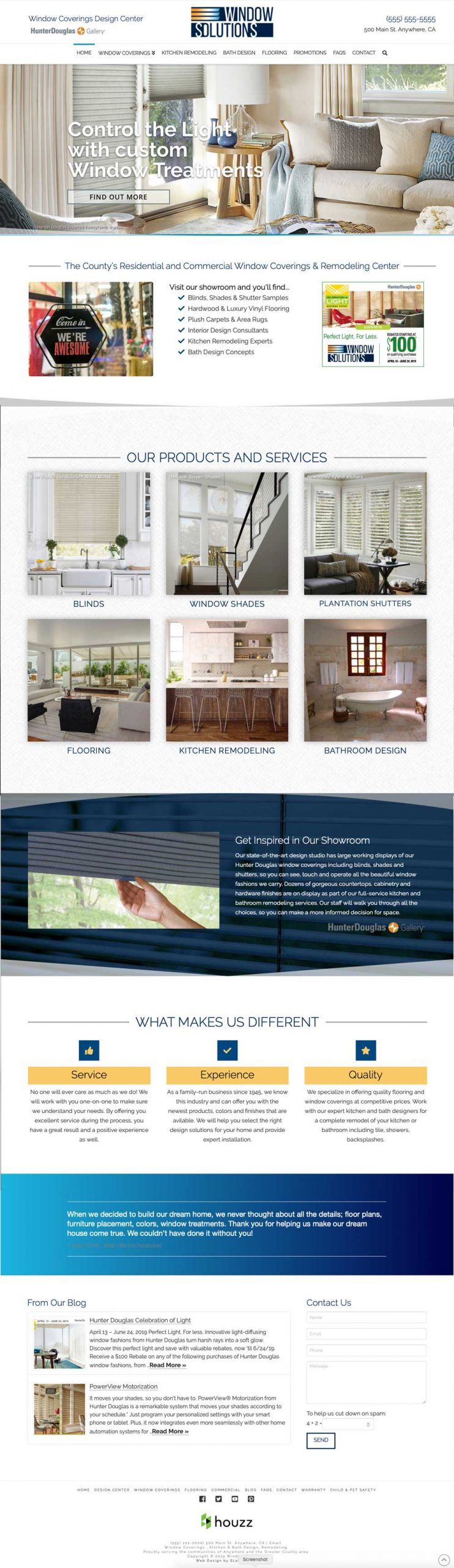 Custom Home Page showing your products and services, distinctives, testimonials, and images.
