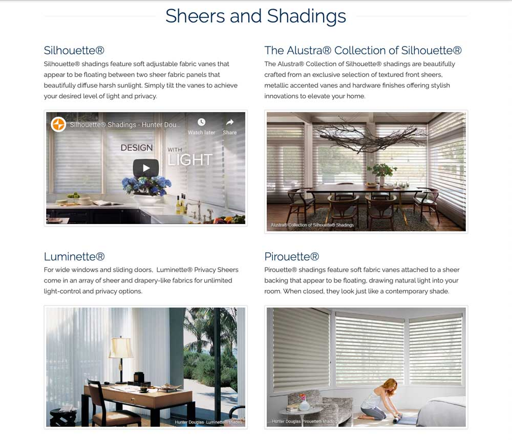 Hunter Douglas videos are embedded in product pages to highlight Window Fashions